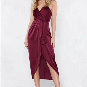 Nasty Gal Burgundy Satin Wrap Dress - Midi Length